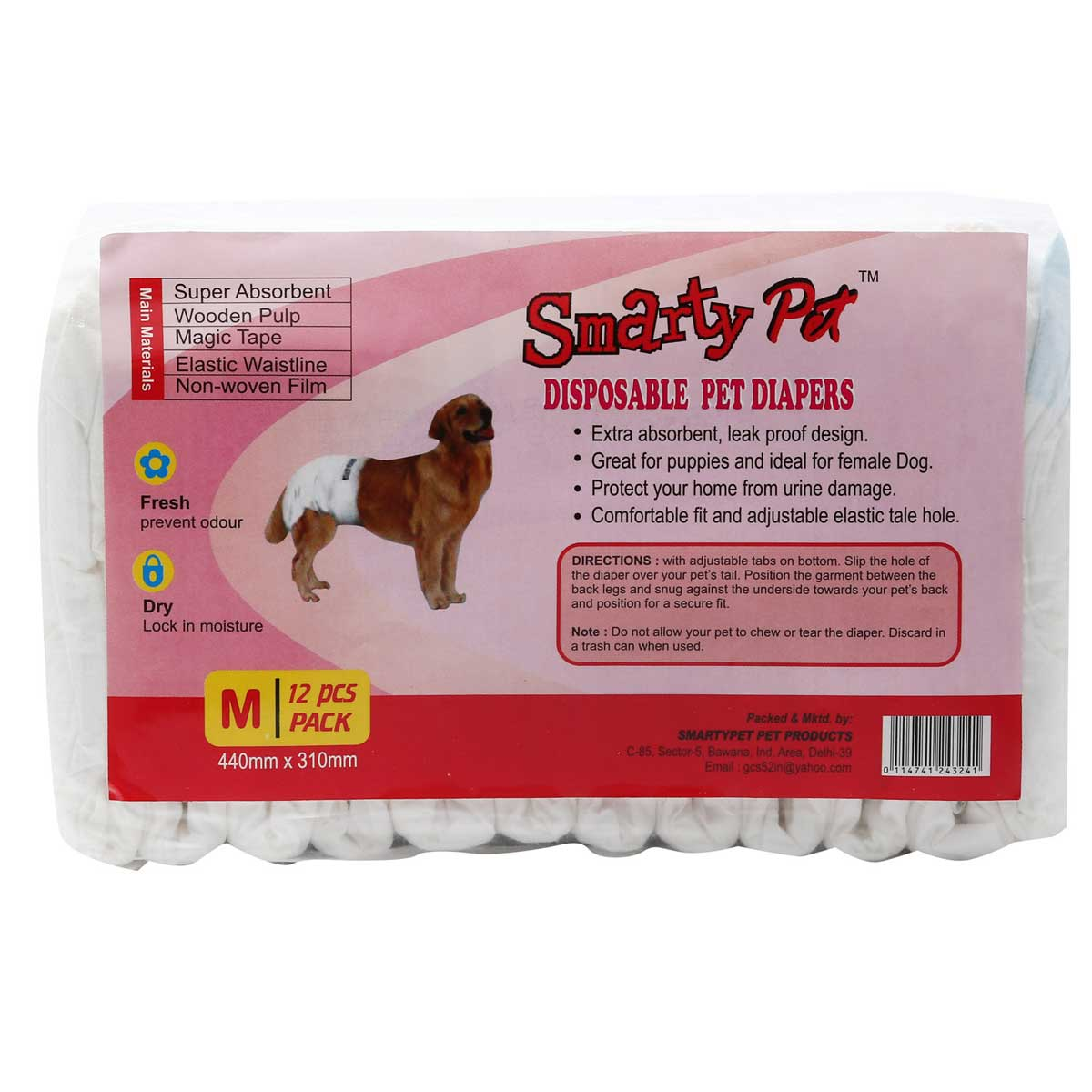 Buy Disposable Dog Diapers Smarty Pets Medium 12 pieces,Dog Pads,available in low price onlin at petindiaonline