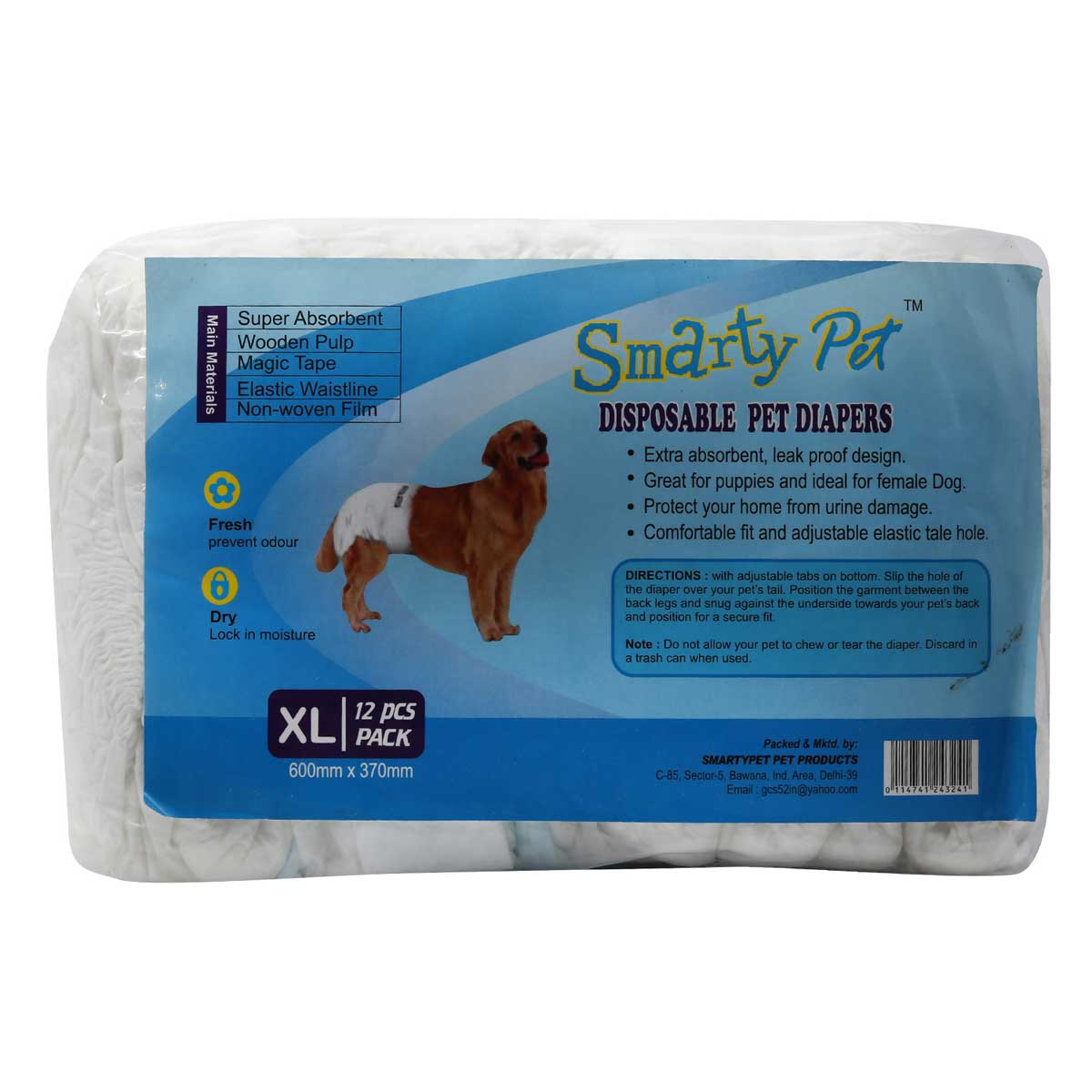 Buy Disposable Dog Diapers Smarty Pets 12 Pieces XL,pet pads,bitch pads in low price online at petindiaonline